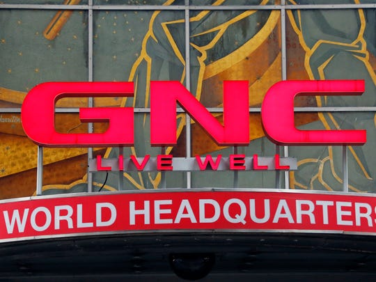 A corporate sign at GNC's world headquarters in Pittsburgh.