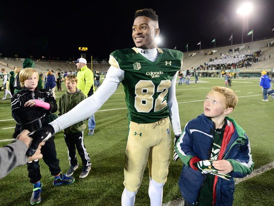 Colorado State Rams wide receiver Rashard Higgins (82) following the win over the Hawaii Warriors at Hughes Stadium. The Rams defeated the Warriors 49-22.