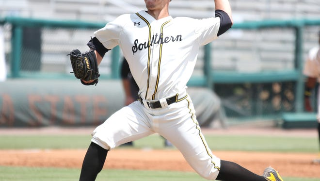 Southern Miss pitcher Kirk McCarty threw six scoreless innings in a 14-2 win over South Alabama at the Tallahassee Regional at Dick Howser Stadium.