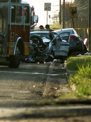 A Jackson police car was involved in a three vehicle crash on Northside Drive.