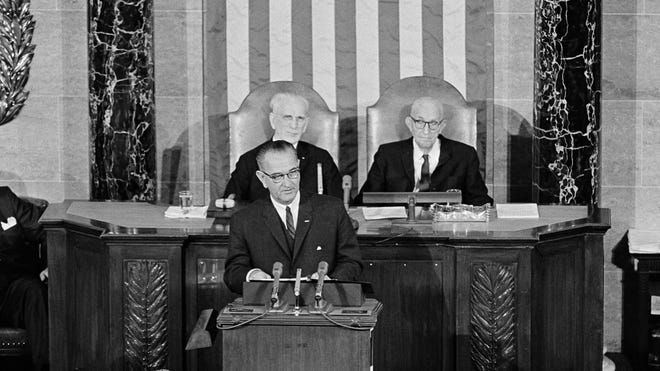 President Lyndon B. Johnson delivers his 1964 State of the Union Address.