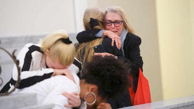 Bill Cosby's accusers after the guilty verdict was announced on April 26, 2018, in Morristown, Pa.
