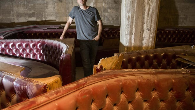 Portrait of Michael Merendino, a owner of new Crust Pizza restaurant basement, looks at the progress for his restaurant that will open this summer on ground level in an historic building Crown Plaza San Marcos Resort in downtown Chandler on April 30, 2015.