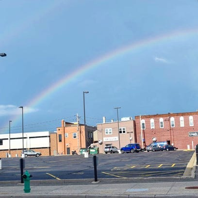 Rainbow shines over Appleton following early afternoon