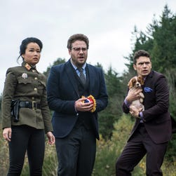 This photo provided by Columbia Pictures - Sony shows, from left, Diana Bang, as Sook, Seth Rogen, as Aaron, and James Franco, as Dave, in Columbia Pictures' 'The Interview.'