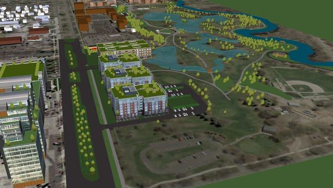A rendering of a mixed-use development to transform the Red Cedar Golf Course near Frandor into a mixed use development called Red Cedar Renaissance.