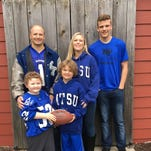 Former MTSU football player Joey Montalbano and his wife, Kristy, and sons, from left, 5-year-old Mitchell, 7-year-old Joseph and 15-year-old Corbin will participate in MTSU Homecoming activities Saturday. Mitchell, who will serve as honorary team captain at the MTSU homecoming on Saturday, is wearing his father's jersey.