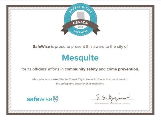The certificate that was awarded to Mesquite by SafeWise, showing its status as the safest city in Nevada for 2018.