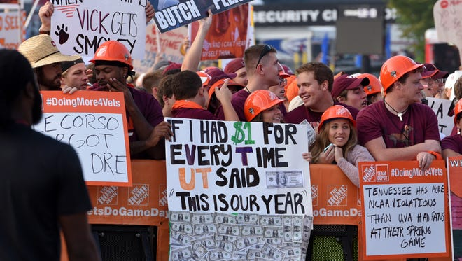 "Fan signs during ESPN's ""College GameDay"" before the Tennessee vs.  Virginia Tech game at The Battle At Bristol Saturday, September 10, 2016 in Bristol, Tenn."