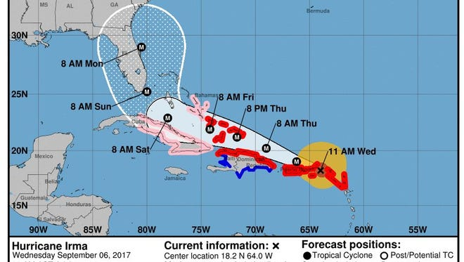 The 11 a.m. update on Hurricane Irma from The National Hurricane Center on Wednesday, Sept. 6, 2017.