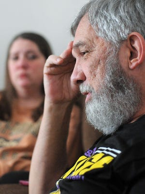 Lee Litz, 65, talks about finding Baby Andrew John Doe dead in a ditch almost 35 years ago while his daughter, Crystal Oestreich, listens on in Sioux Falls on Monday, January 18, 2016. Baby Andrew John Doe's remains were sent to a forensics laboratory in Texas to extract DNA from bones.