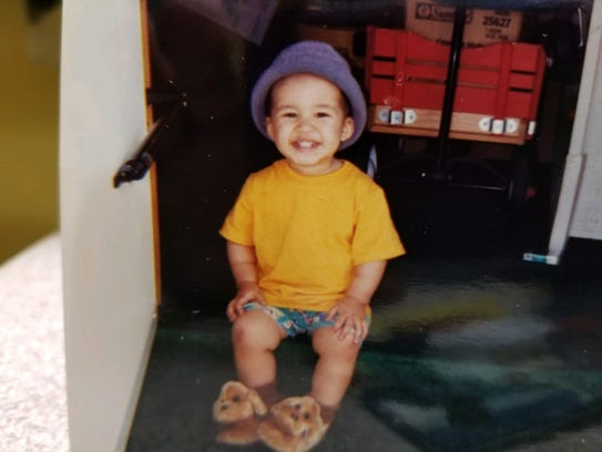 Shannon Hust's son, Nathaniel, in 1999, when he was