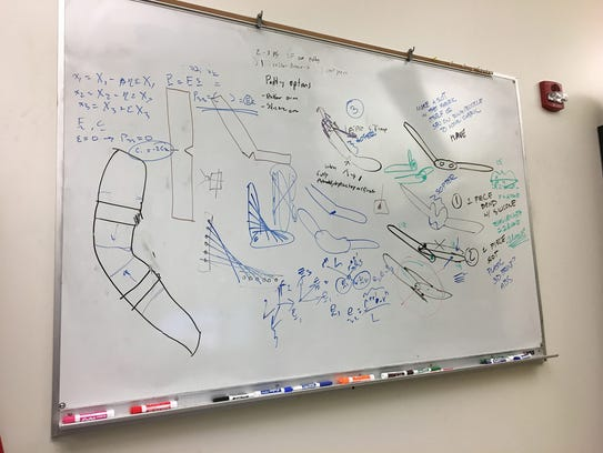 A whiteboard in Purdue mechanical engineering professor