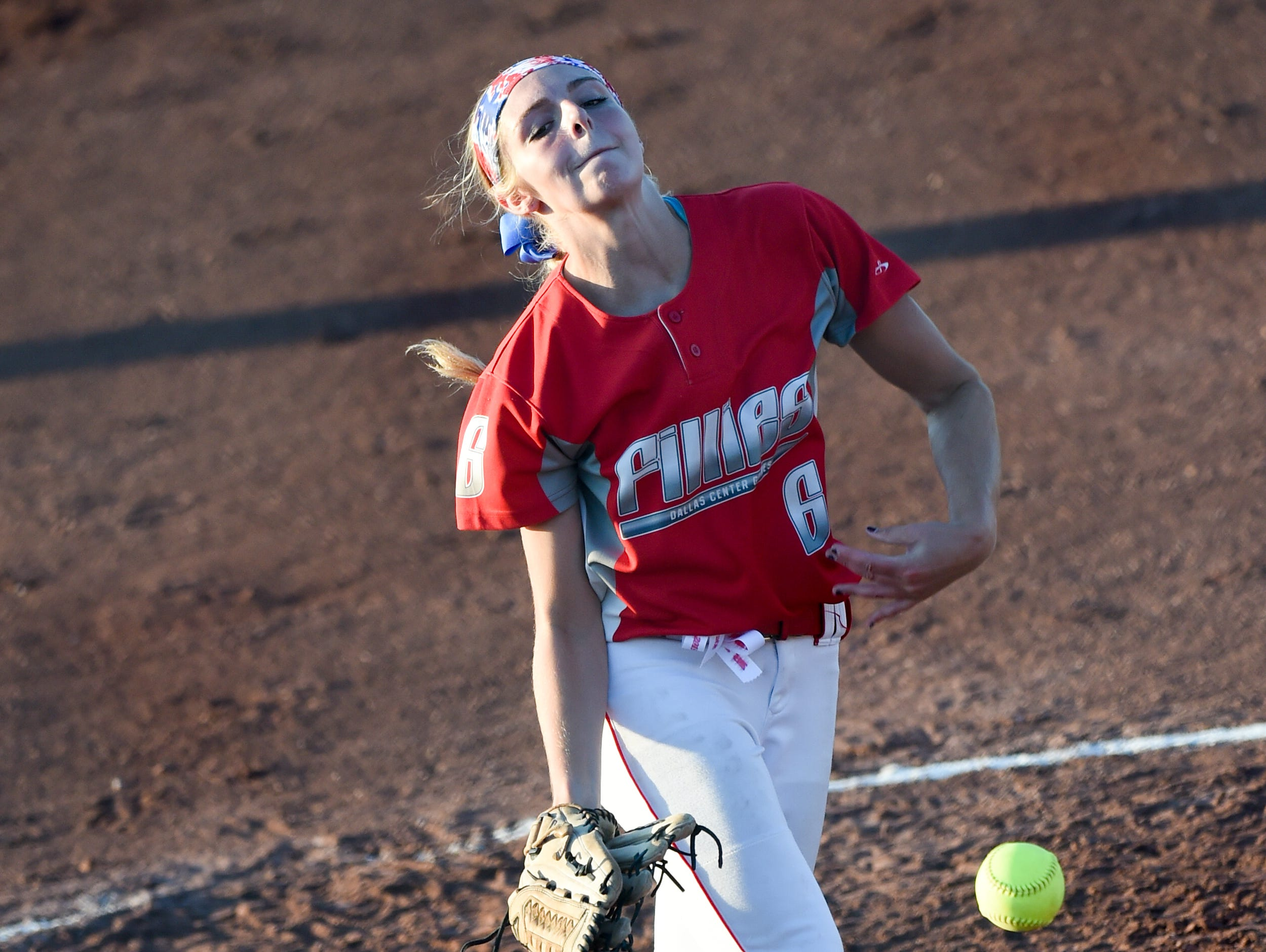 DC-G pitcher Rachel Lowrey (6) throws a pitch on Thursday, July 23, 2015, during the Class 4-A semifinals.