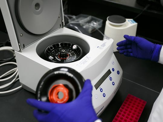 Forensic scientist Heather Feaman puts sample DNA materials into a centrifuge as she demonstrates the steps required to process DNA collected from a sexual assault forensic evidence kit on Thursday, May 25, 2017, at the Oregon State Police Forensics Services Division in Clackamas, Ore. No real evidence was used.