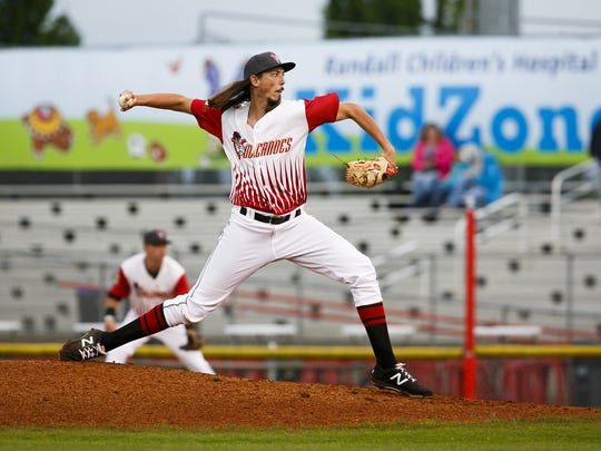 Stetson Woods was the Volcanoes' Opening Day starter against the Tri-City Dust Devils at Volcanoes Stadium on June 15, 2017.