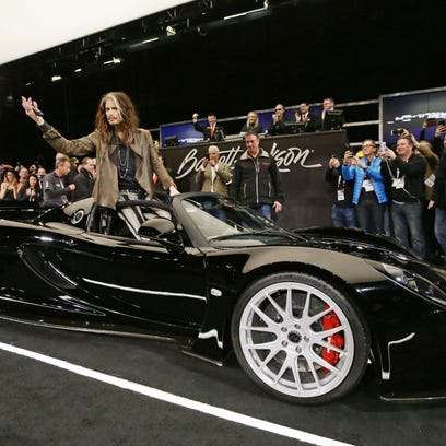 Aerosmith frontman Steven Tyler rides in on his 2012