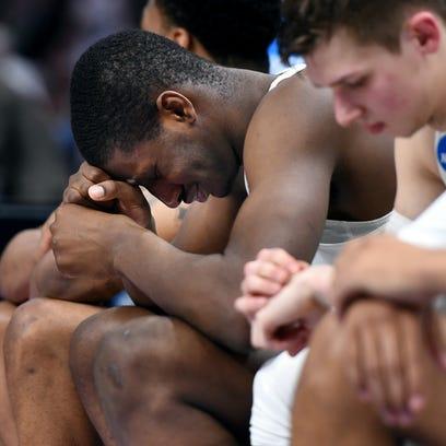 Michigan State's Jaren Jackson Jr. reacts on the bench