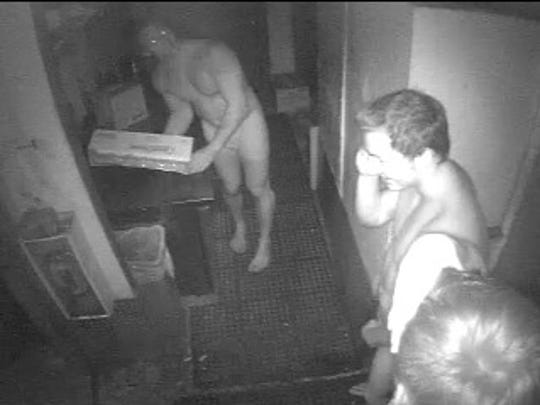 Surveillance images of three men who broke into Doc's Beach House on Bonita Springs wearing nothing but their underwear. They stole burgers and peppers from the restaurant.