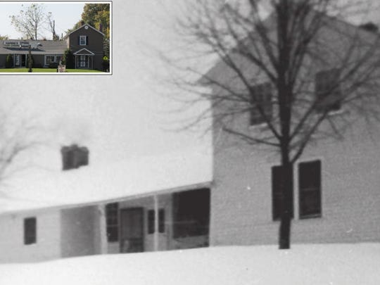 The former home of Bob McAfee, pictured when he lived there, now houses Harbin's Floor Covering, shown in insert.
