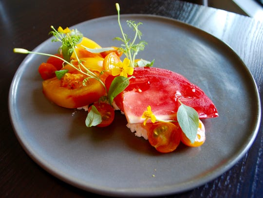 Henley: Heirloom tomatoes on buttermilk ricotta with