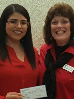 Pictured are Maricarmen Marrufo, left, with Scholarship Chair, Dr. Esther Devall.