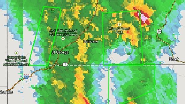 This image shows the heavy rains hitting the St. George area as of about 10 a.m. Saturday.