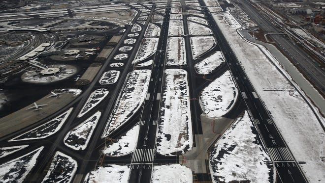 A shot of the runways and taxiways at Newark Liberty International Airport on Jan. 28, 2014.