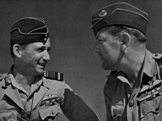 Royal Air Force Air Marshal Arthur Tedder (left) and RAF Air Marshal Arthur Coningham, the architects of the 'centralized control, decentralized execution' concept, used with great success in North Africa after 1941 and later adopted by the U.S. Army Air Forces in its FM 100-20, The Command and Employment of Air Power, published in July 1943.