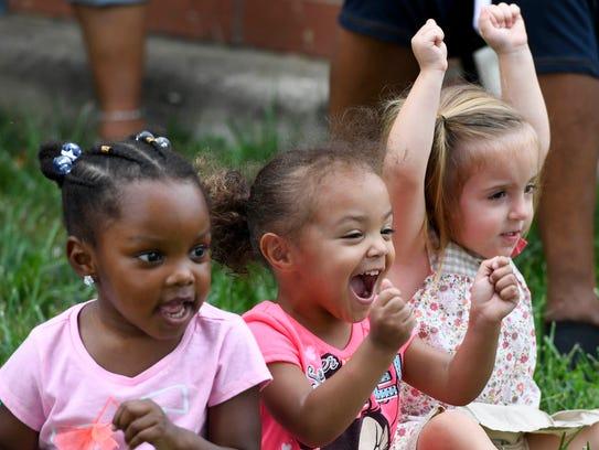 (L-R) Nyomi Pennington, 3 years-old, Bridgette Brown,