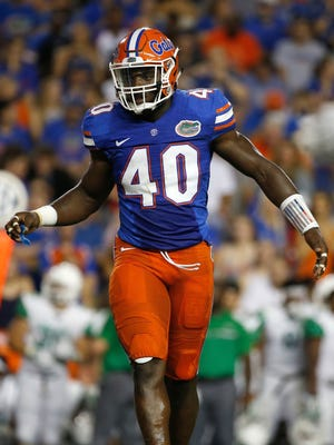 Florida linebacker Jarrad Davis plays against North Texas on Sept. 17, 2016.