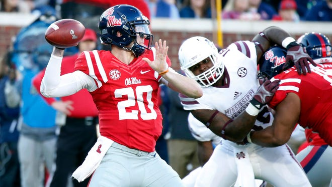 Ole Miss quarterback Shea Patterson (20) stepped in for an injured Chad Kelly and started the final three games of the season.
