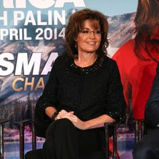 PASADENA, CA - JANUARY 10:  Sarah Palin and Sportsman Channel host breakfast during the 2014  Winter Television Critics Association tour at the Langham Hotel on January 10, 2014 in Pasadena, California.  (Photo by Frederick M. Brown/Getty Images) ORG XMIT: 461547457 ORIG FILE ID: 461672165