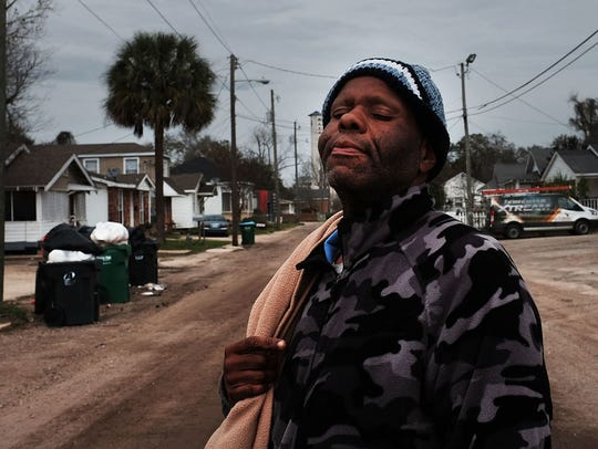 A homeless man in Biloxi, Mississippi. According to