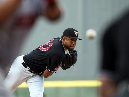 Bryan Rodriguez of the El Paso Chihuahuas unloads a