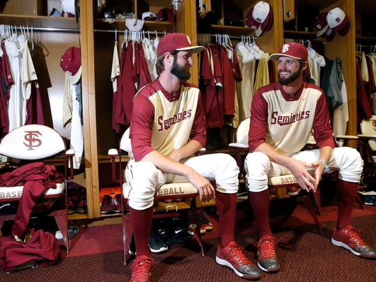 """FSU's twin 6'7"""" right-handed pitchers, Ed, left, and"""