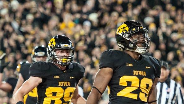 Iowa City, IA, USA; Iowa Hawkeyes running back LeShun