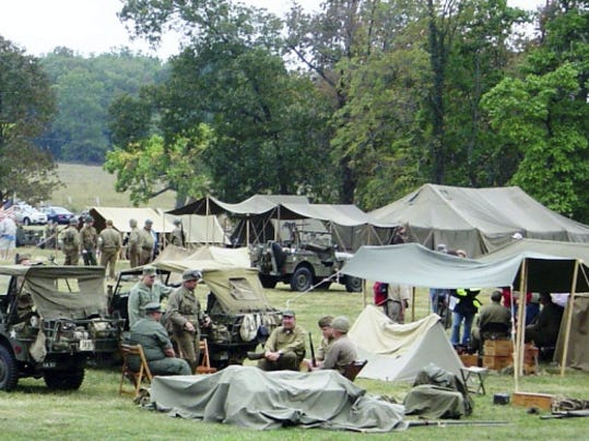 Living history re-enactors set up camp at the World War II Weekend in 2014 at the Eisenhower National Historic Site.