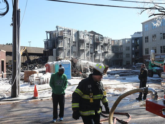 The aftermath of last night's fire at Avalon Condominiums construction project on Boyden Ave.