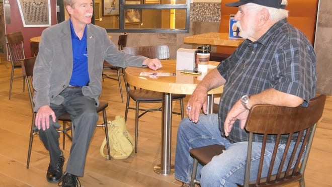 Dr. Bill Clifford, who is running for Congress in the 1st Congressional District, speaks about policy at Scuttlebutt's Coffee on June 4 in Hutchinson, Kansas.