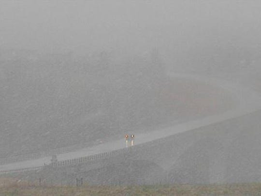 A Montana Department of Transportation Two Medicine Bridge web cam at an elevation of 4,900 feet above at 3:30 p.m. Sunday.