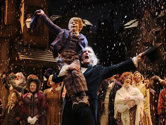 "Scrooge and Tiny Tim lead cast in ""A Christmas Carol."""