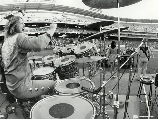 Mickey Jones drums for Kenny Rogers and the First Edition at Anaheim Stadium. Jones, a longtime Simi Valley resident, died recently.