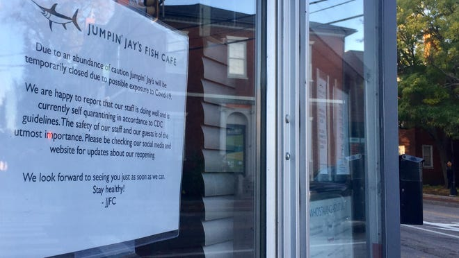 Jumpin' Jays Fish Cafe of Portsmouth closed temporarily because of possible exposure to COVID-19.