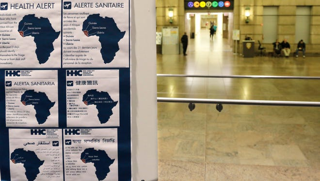 Health alerts regarding people who may have traveled to particular West African countries are posted in the lobby of Bellevue Hospital in New York. Craig Spencer, a resident of New York City and a member of Doctors Without Borders, was admitted to Bellevue Thursday and has been diagnosed with Ebola.