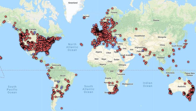 Map showing 8,000 reports from people who say they hear the Hum.