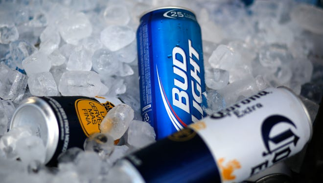 A Bud Light beer in ice.