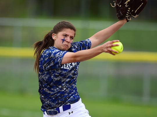 Horseheads pitcher Madison Rogers (11) during Horseheads Blue Raiders vs. Susquehanna Valley Sabers, Southern Tier Athletic Conference softball final at Chenango Valley High School, May 16, 2018.