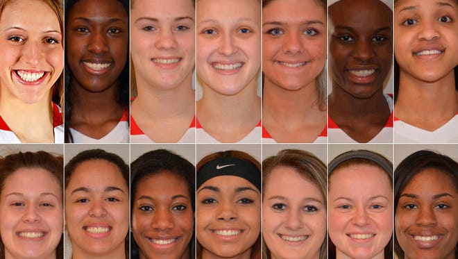 Indiana's girls All-Star team is (top row, from left): Ali Patberg, Columbus North; Victoria Gaines, Merrillville; Madeline Raster, South Bend St. Joseph's; Alexa Bailey, Bedford North Lawrence; Jordyn Frantz, NorthWood; Brittany Ward, Pike; Michal Miller, Michigan City. (Bottom row, from left): Jenny Allen, Bedford North Lawrence; Dominique McBryde, Bedford North Lawrence; Zuri Sanders, Evansville Central; Tiara Murphy, South Bend Washington; Tori Schickel, Evansville Mater Dei; Darby Maggard, Fort Wayne Canterbury; Lamina Cooper, Lawrence North.
