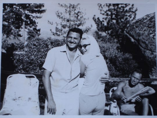 Buddy Greco, Marilyn Monroe, and Frank Sinatra in a photo taken near Lake Tahoe just before Marilyn Monroe's death in 1962,